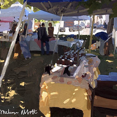Honey Tent At Farmer's Market Art Print