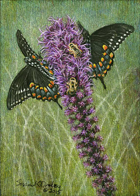 Painting - Honeybees And Spicebush Swallowtail Sharing The Bounty by Susan Donley