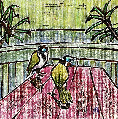 Linoprint Mixed Media - Honeyeaters by Huth Anne