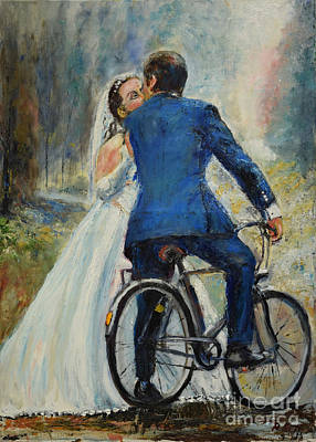Painting - Honeymoon Biker by Raija Merila