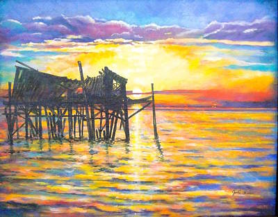 Honeymoon Cottage Cedar Key Original by Judi Cain
