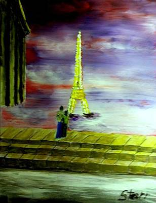 Paris Skyline Royalty-Free and Rights-Managed Images - Honeymoon In Paris by Irving Starr