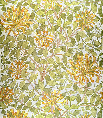 Motifs Painting - Honeysuckle Design by William Morris