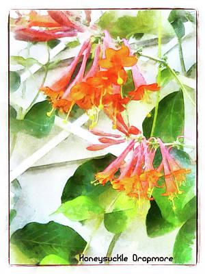 Digital Art - Honeysuckle - Dropmore Scarlet by Leslie Montgomery