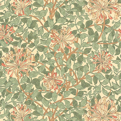 Art Nouveau Mixed Media - Honeysuckle Pattern by William Morris