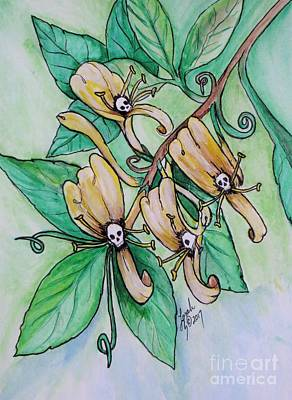 Painting - Honeysuckle Skulls by Lorah Buchanan