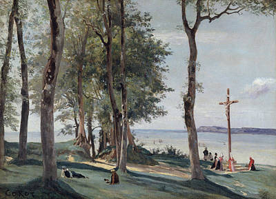 Crucifixion Painting - Honfleur, Calvary by Camille Corot