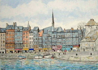 Painting - Honfleur Harbour, Normandy, France by Peter Farrow