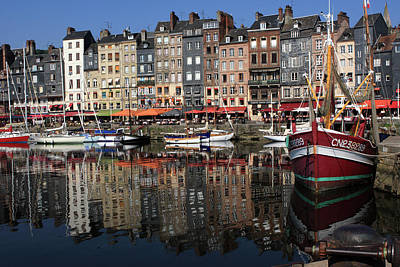 Photograph - Honfleur Harbour Reflections by Aidan Moran