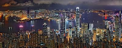 Hong Kong At Dusk Art Print by Jeff S PhotoArt