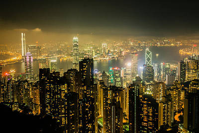 Photograph - Hong Kong By Night by Dave Hall