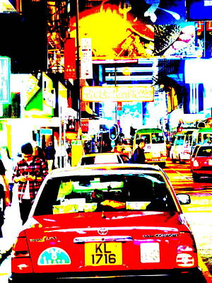 Funkpix Photograph - Hong Kong Cabs by Funkpix Photo Hunter