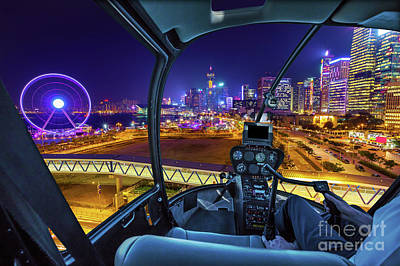 Photograph - Hong Kong Cityscape Helicopter by Benny Marty