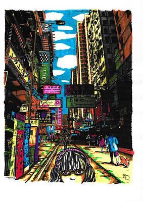 Hong Kong Drawing - Hong Kong Colours by Channing Kennedy