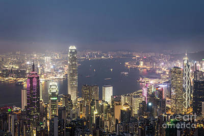 Photograph - Hong Kong Famous Urban Skyline At Night by Didier Marti