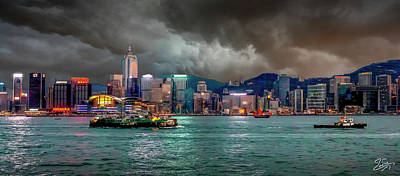 Photograph - Hong Kong Harbor At Dusk by Endre Balogh