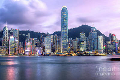 Mannequin Dresses Rights Managed Images - HDR Hong Kong Harbour at Night Royalty-Free Image by Chris Smith