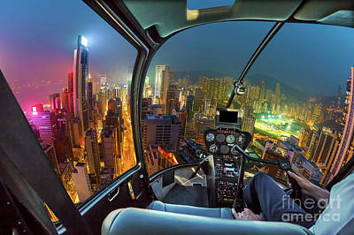 Wan Chai Photograph - Hong Kong Helicopter by Benny Marty
