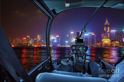 Photograph - Hong Kong Helicopter Panorama by Benny Marty