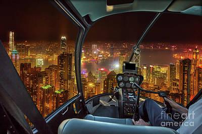 Photograph - Hong Kong Night Flight by Benny Marty