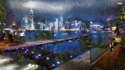 Manipulation Photograph - Hong Kong Sjyline Across The Wharf by Mario Carini