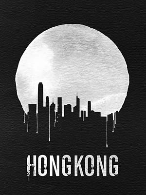 Hong Kong Skyline Black Art Print by Naxart Studio