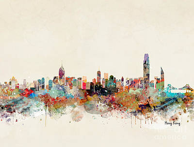 Painting - Hong Kong Skyline by Bri B