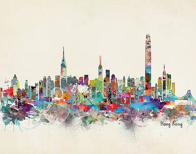 Hong Kong Wall Art - Painting - Hong Kong Skyline by Bri Buckley