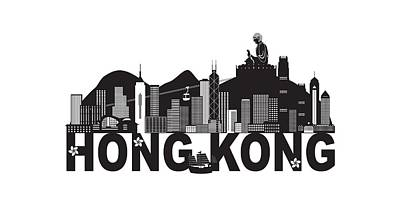 Photograph - Hong Kong Skyline Buddha Statue Text Black And White Illustration by Jit Lim