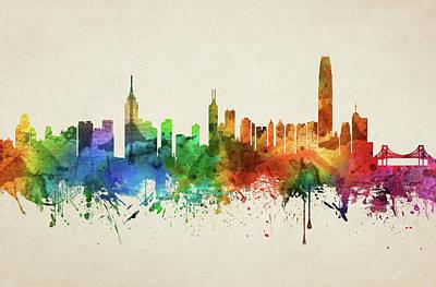 Hong Kong Skyline Chhk05 Art Print by Aged Pixel