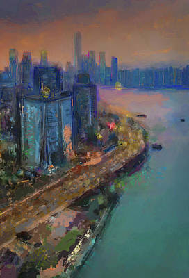 Eduardo Tavares Digital Art Royalty Free Images - Hong Kong Skyline Painting Royalty-Free Image by Eduardo Tavares