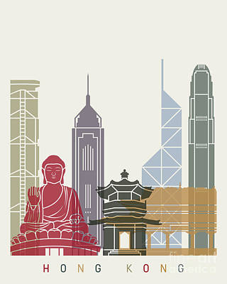 Hong Kong Painting - Hong Kong Skyline Poster_v2 by Pablo Romero
