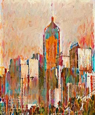 Digital Art - Hong Kong Skyline View 03 by Yury Malkov