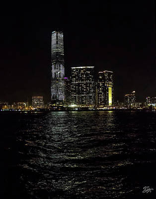 Photograph - Hong Kong Skyscraper At Night by Endre Balogh