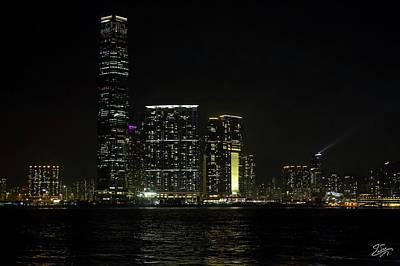 Photograph - Hong Kong Tall Buildings At Night by Endre Balogh