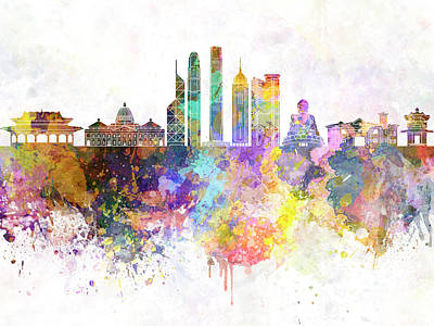 Hong Kong V2 Skyline In Watercolor Background Art Print by Pablo Romero