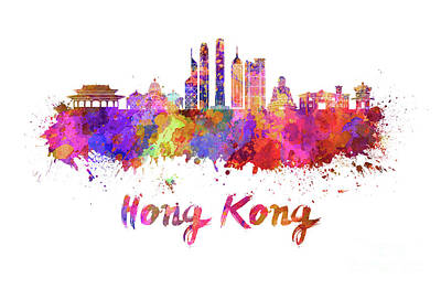 Hong Kong Painting - Hong Kong V2 Skyline In Watercolor by Pablo Romero