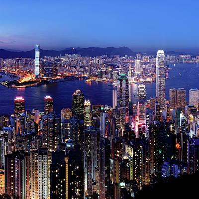 Hong Kong Victoria Harbor At Night Art Print by Sam