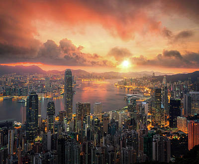 Photograph - Hongkong City Scape With Sun And Light From Building by Anek Suwannaphoom