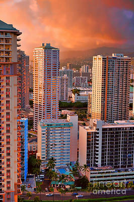 Photograph - Honolulu At Sunset by Sue Melvin