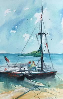 Honolulu Catamaran Art Print by Carolyn Zbavitel