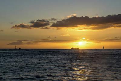 Photograph - Honolulu Crowded Sunset Cruise by Georgia Mizuleva