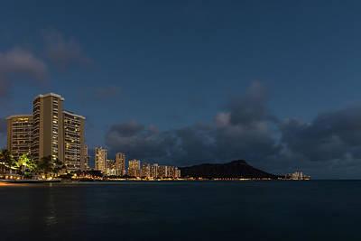 Stocktrek Images - Honolulu Evening - Blue Hour with Waikiki Beach and Diamond Head Volcano by Georgia Mizuleva