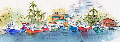 Painting - Honolulu Marina by Pat Katz