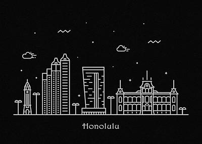 Drawing - Honolulu Skyline Travel Poster by Inspirowl Design