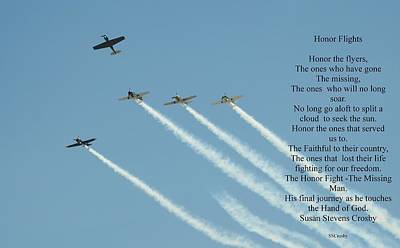 Photograph - Honor Flight- Missing Man Formation by Susan Stevens Crosby