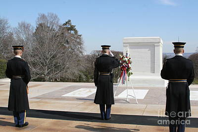 Photograph - Honor Guard Saluting Tomb Of Unknowns by April Sims