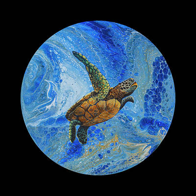 Painting - Honu Amakua On Black by Darice Machel McGuire