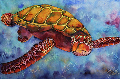 Green Sea Turtle Painting - Honu At Play by Stacy Egan