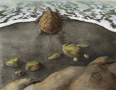 Green Sea Turtle Painting - Honu Beach by Kirsten Carlson